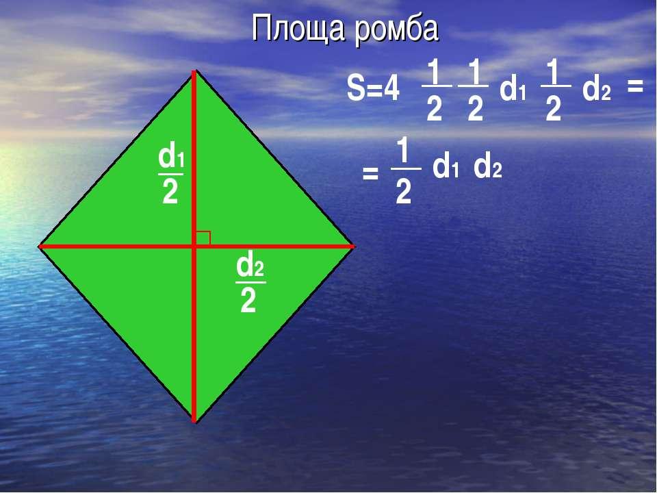 Площа ромба d2 2 d1 2 S=4 1 2 d1 d2 1 2 2 2 1 1 = = d1 d2