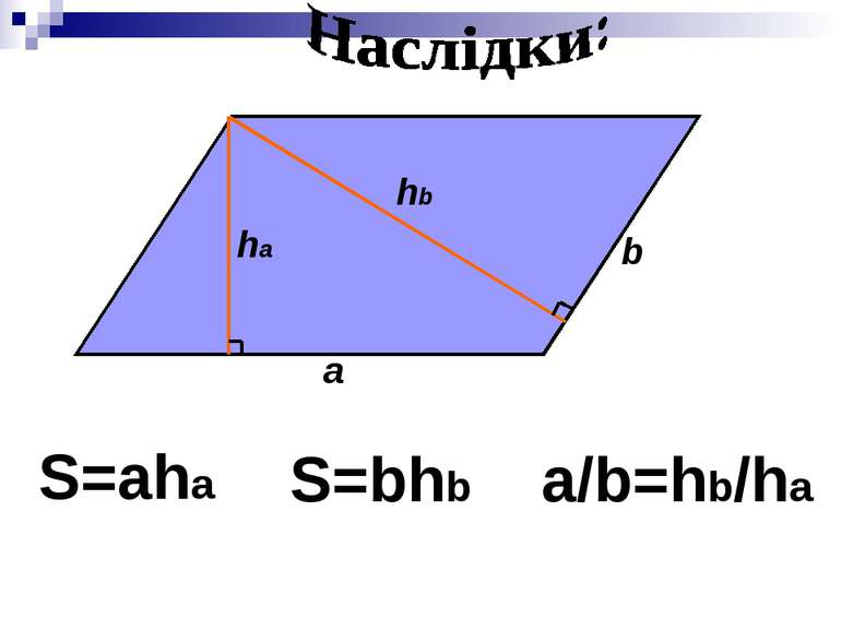 a b ha hb S=aha S=bhb a/b=hb/ha