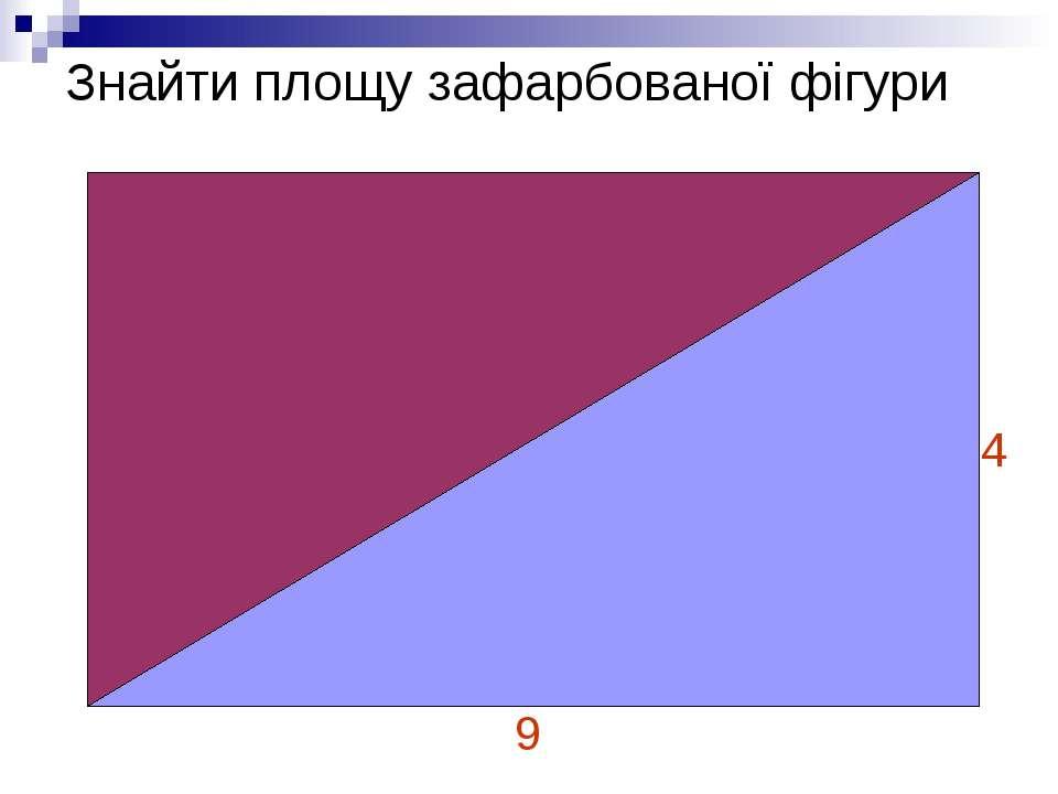 Знайти площу зафарбованої фігури 4 9
