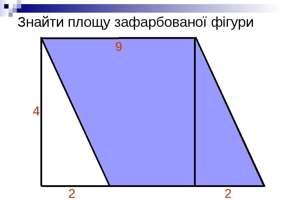 Знайти площу зафарбованої фігури 2 2 4 9