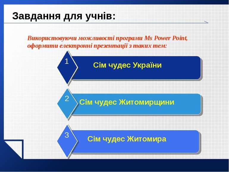Завдання для учнів: Використовуючи можливості програми Ms Power Point, оформи...