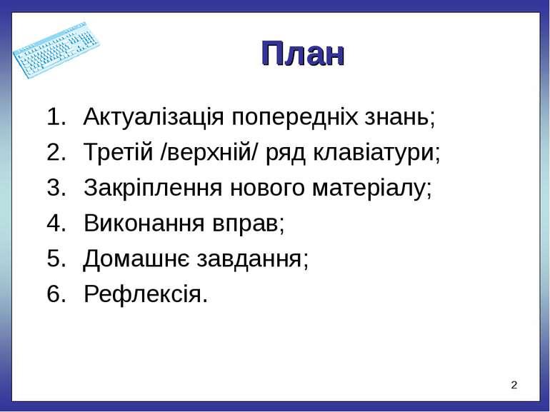 План Актуалізація попередніх знань; Третій /верхній/ ряд клавіатури; Закріпле...