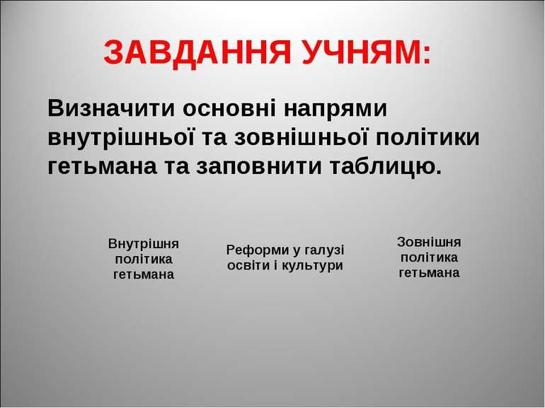 ЗАВДАННЯ УЧНЯМ: Визначити основні напрями внутрішньої та зовнішньої політики ...