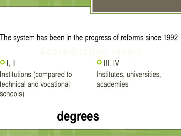 The system has been in the progress of reforms since 1992 I, II Institutions ...