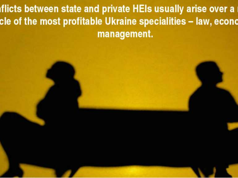 Conflicts between state and private HEIs usually arise over a narrow circle o...