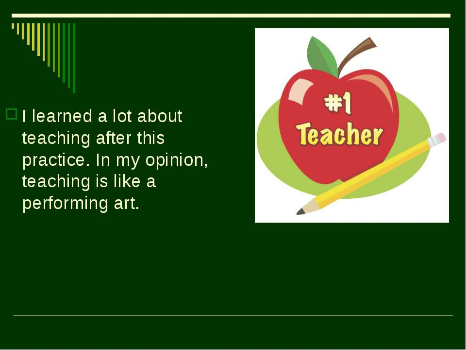 I learned a lot about teaching after this practice. In my opinion, teaching i...