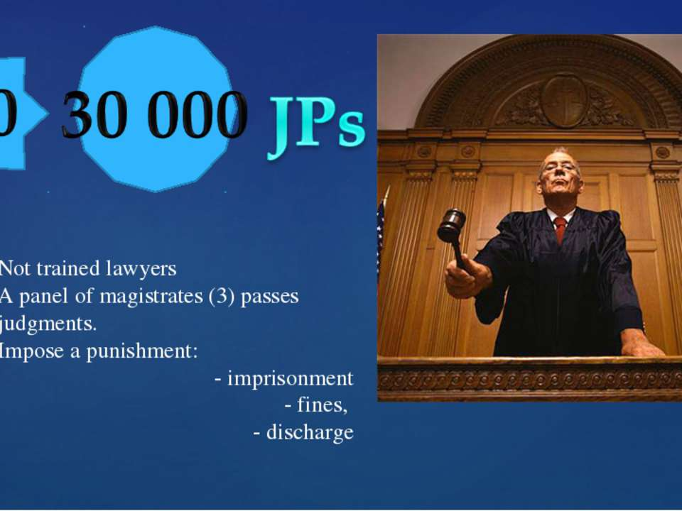 Not trained lawyers A panel of magistrates (3) passes judgments. Impose a pun...