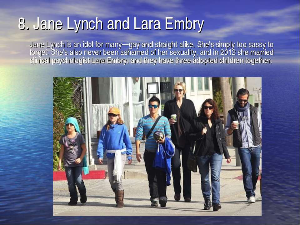 8.Jane Lynch and Lara Embry Jane Lynch is an idol for many—gay and straight ...