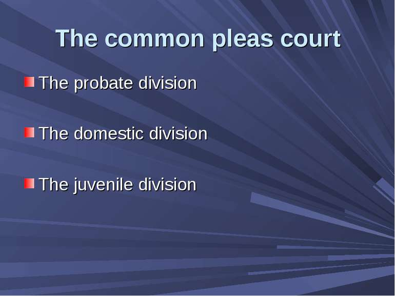 The common pleas court The probate division The domestic division The juvenil...