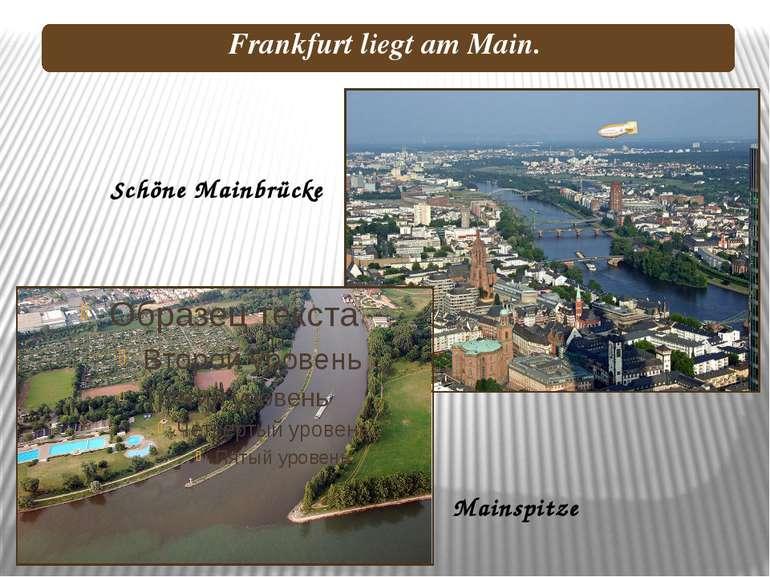 Schöne Mainbrücke Mainspitze Frankfurt liegt am Main.