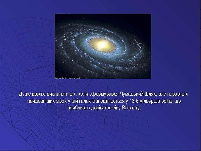 Дуже важко визначити вік, коли сформувався Чумацький Шлях, але наразі вік най...