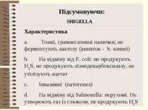 Підсумовуючи: SHIGELLA Характеристика a. Тонкі, грамнегативні палички; не фер...