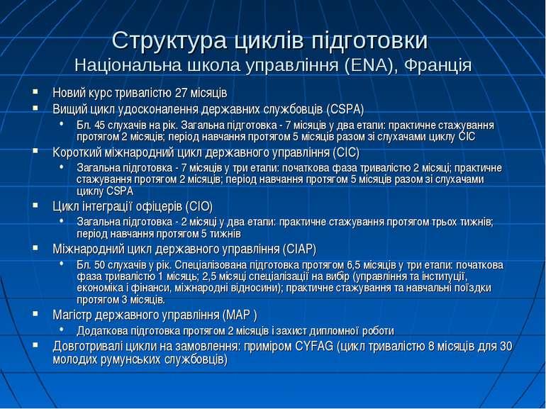 Структура циклів підготовки Національна школа управління (ENA), Франція Новий...