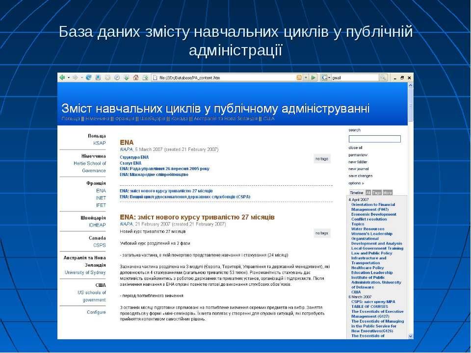База даних змісту навчальних циклів у публічній адміністрації