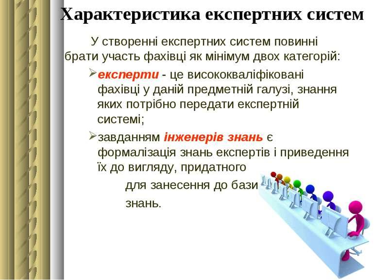 Характеристика експертних систем У створенні експертних систем повинні брати ...