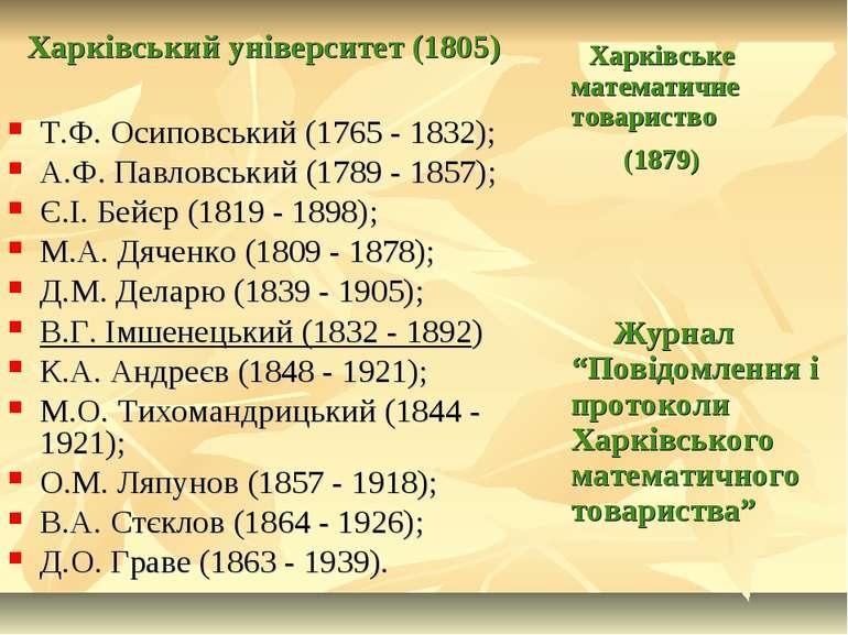 Харківський університет (1805) Т.Ф. Осиповський (1765 - 1832); А.Ф. Павловськ...