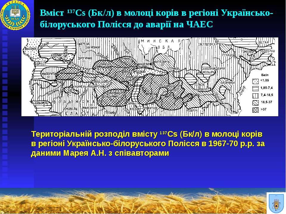 Вміст 137Cs (Бк/л) в молоці корів в регіоні Українсько-білоруського Полісся д...