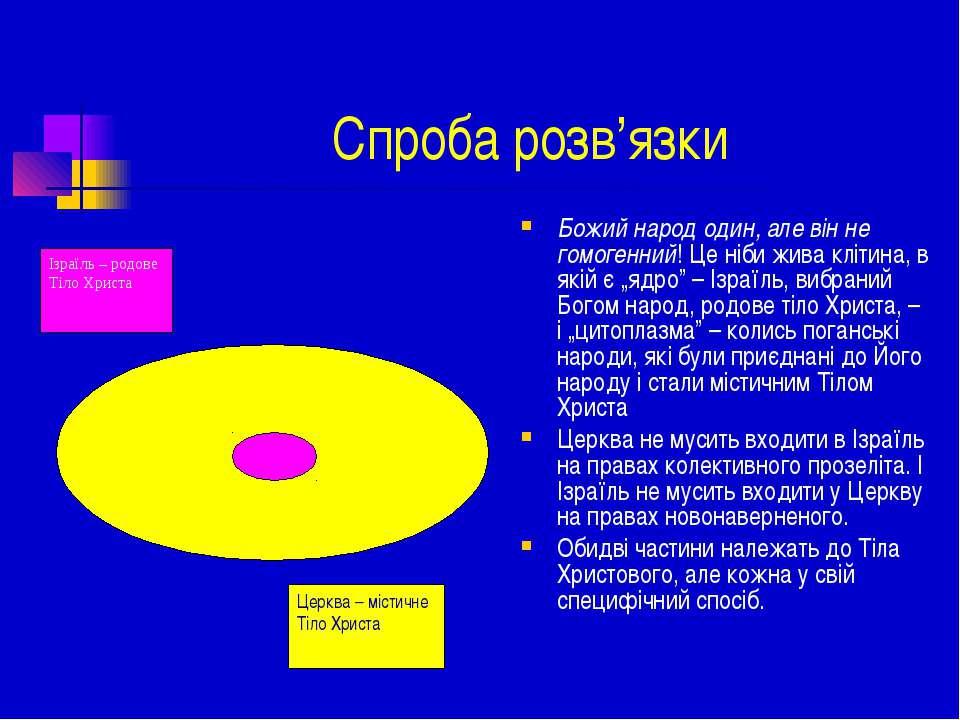 Спроба розв'язки Божий народ один, але він не гомогенний! Це ніби жива клітин...