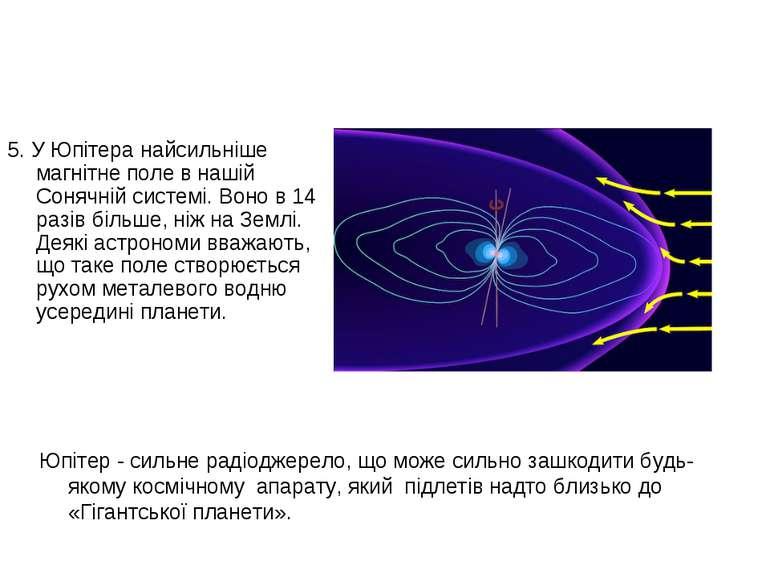 5. У Юпітера найсильніше магнітне поле в нашій Сонячній системі. Воно в 14 ра...
