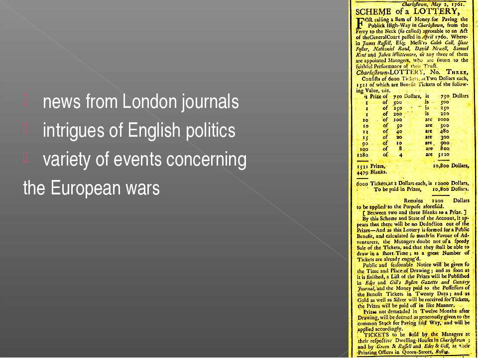 news from London journals intrigues of English politics variety of events con...