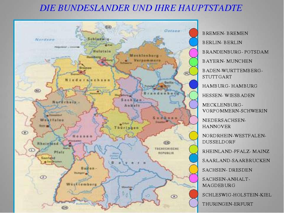 BREMEN- BREMEN BERLIN- BERLIN BRANDENBURG- POTSDAM BAYERN- MUNCHEN BADEN-WURT...