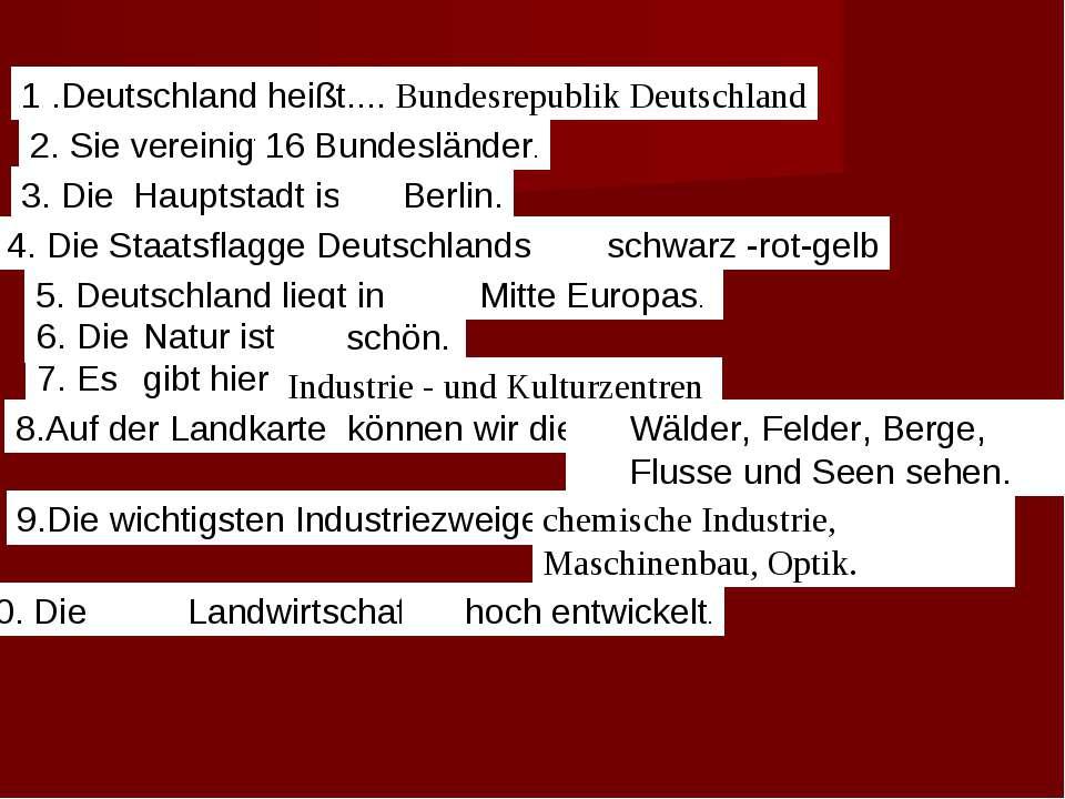 1 .Deutschland heißt.... 2. Sie vereinigt 3. Die Hauptstadt ist... 4. Die Sta...