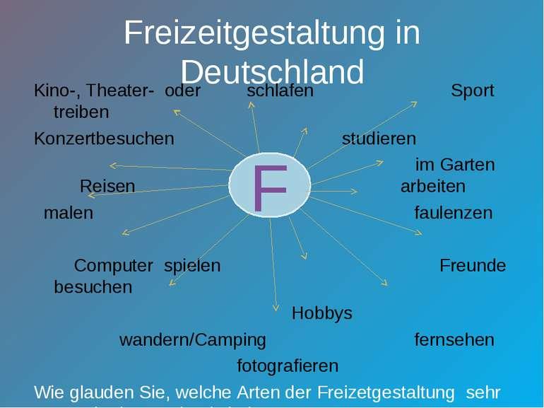 Freizeitgestaltung in Deutschland Kino-, Theater- oder schlafen Sport treiben...