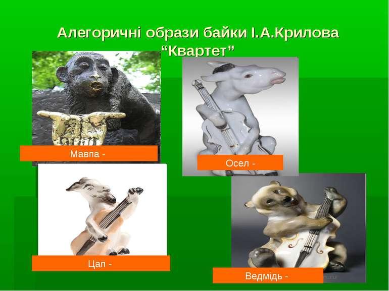 """Алегоричні образи байки І.А.Крилова """"Квартет"""" Мавпа - Цап - Осел - Ведмідь -"""