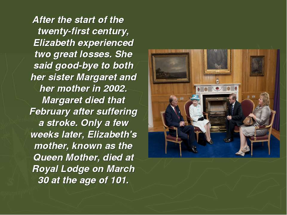 After the start of the twenty-first century, Elizabeth experienced two great ...