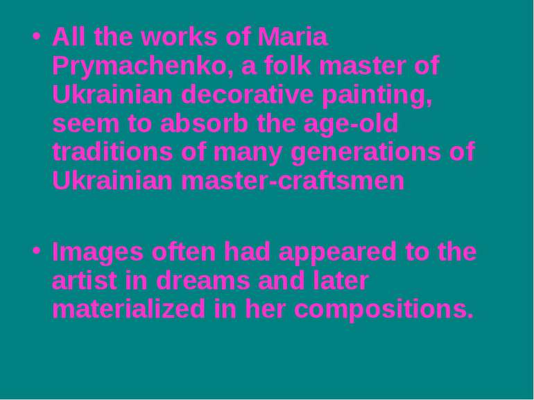 All the works of Maria Prymachenko, a folk master of Ukrainian decorative pai...