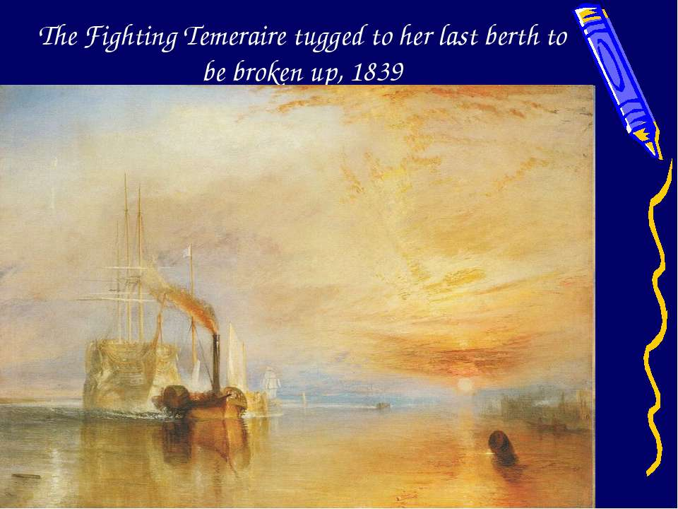 The Fighting Temeraire tugged to her last berth to be broken up, 1839