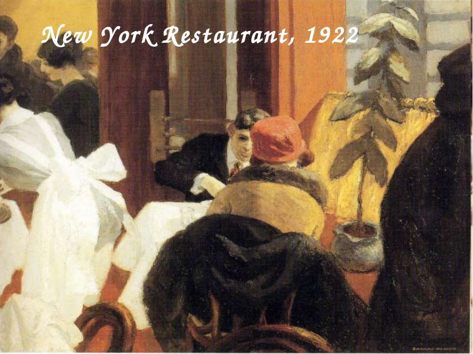 New York Restaurant, 1922