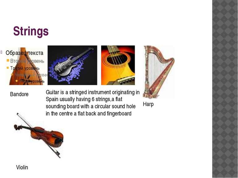 Strings Bandore Harp Violin Guitar is a stringed instrument originating in Sp...