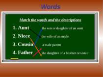 Words Match the words and the descriptions Aunt the son or daughter of an aun...