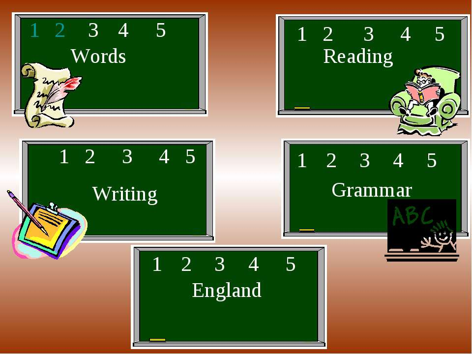 Words Reading Writing Grammar England 1 2 3 4 5 1 2 3 4 5 1 2 3 4 5 1 2 3 4 5...