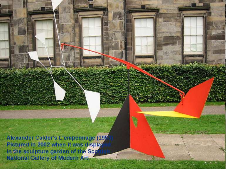 Alexander Calder's L'empennage (1953) Pictured in 2002 when it was displayed ...