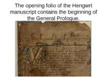 The opening folio of the Hengwrt manuscript contains the beginning of the Gen...