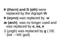 Þ (thorn) and D (eth) were replaced by the digraph th Þ (wynn) was replaced b...