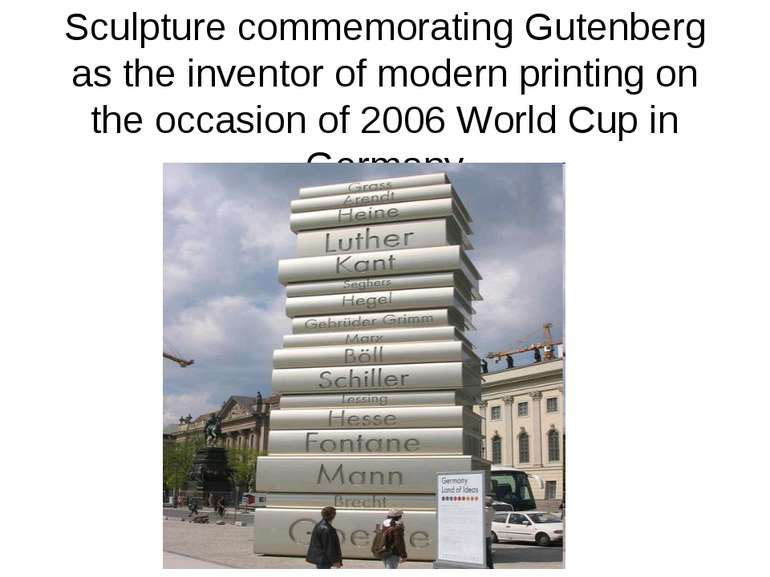 Sculpture commemorating Gutenberg as the inventor of modern printing on the o...