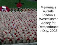 Memorials outside London's Westminster Abbey for Remembrance Day, 2002