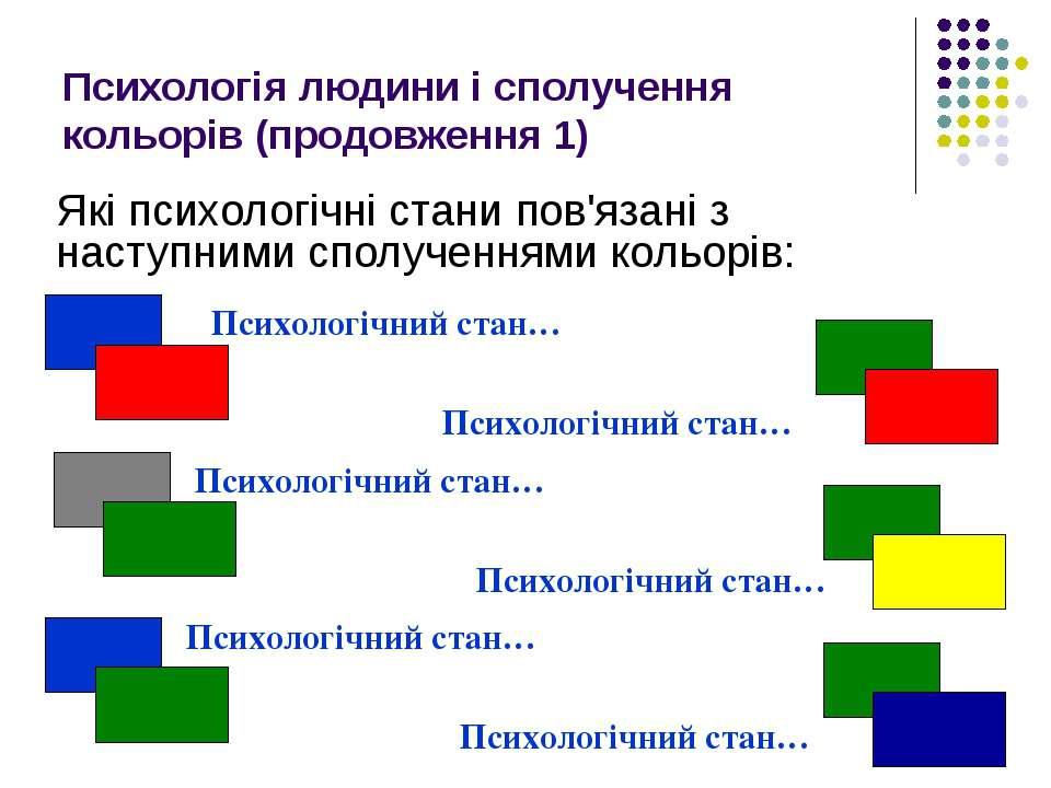Психологія людини і сполучення кольорів (продовження 1) Які психологічні стан...