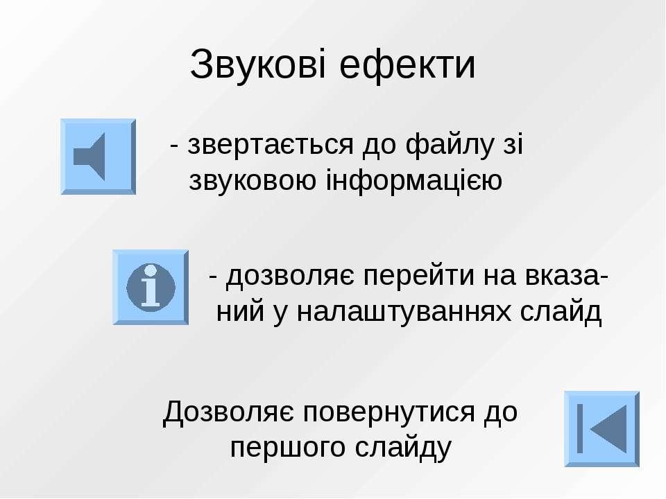Звукові ефекти - звертається до файлу зі звуковою інформацією - дозволяє пере...