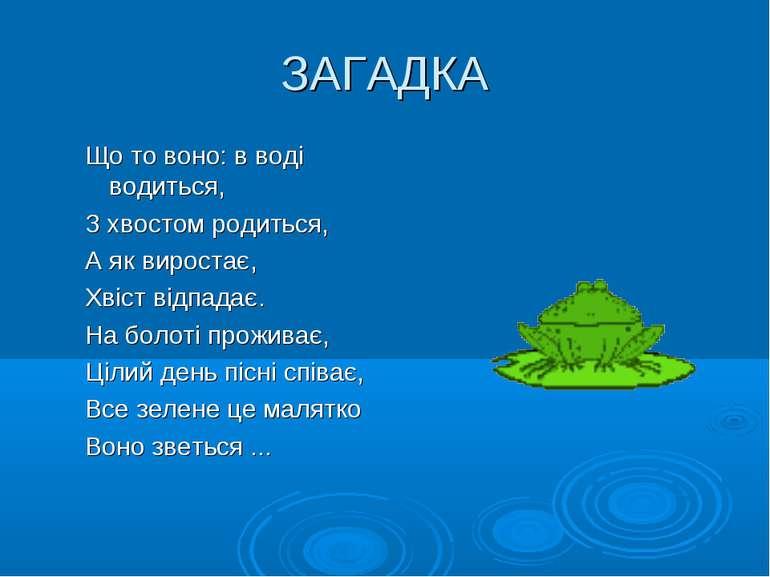 ЗАГАДКА Що то воно: в воді водиться, З хвостом родиться, А як виростає, Хвіст...