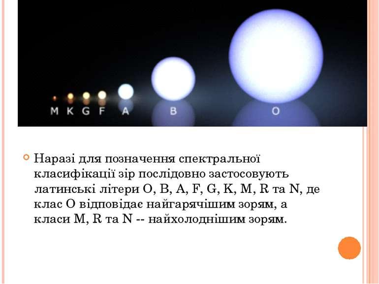 Наразі для позначення спектральної класифікації зір послідовно застосовують л...