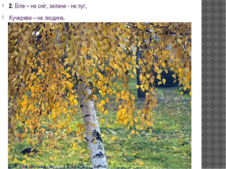 2. Біле – не сніг, зелене - не луг, Кучеряве – не людина.