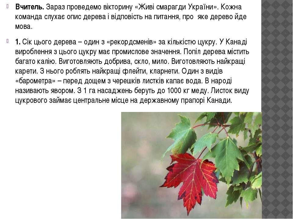 Вчитель. Зараз проведемо вікторину «Живі смарагди України». Кожна команда слу...