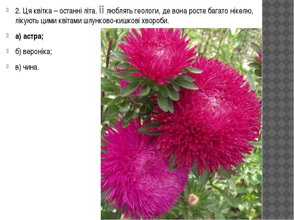 2. Ця квітка – останні літа. ЇЇ люблять геологи, де вона росте багато нікелю,...