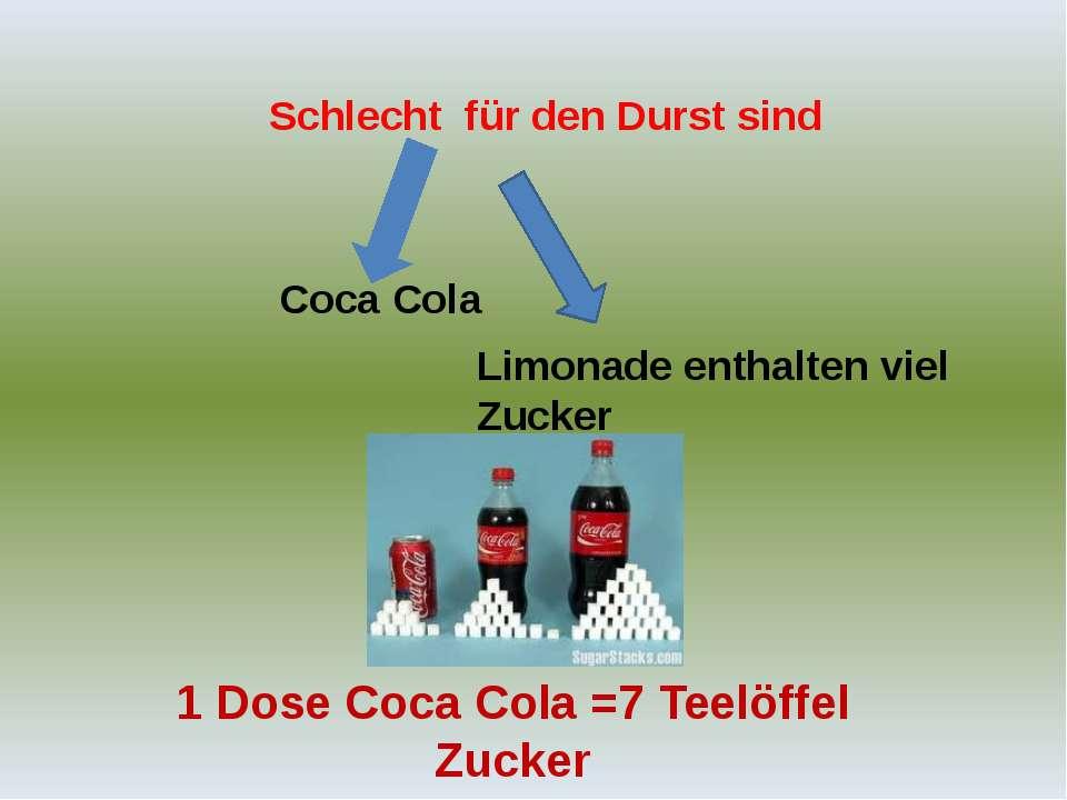 Schlecht für den Durst sind Limonade enthalten viel Zucker Coca Cola 1 Dose C...