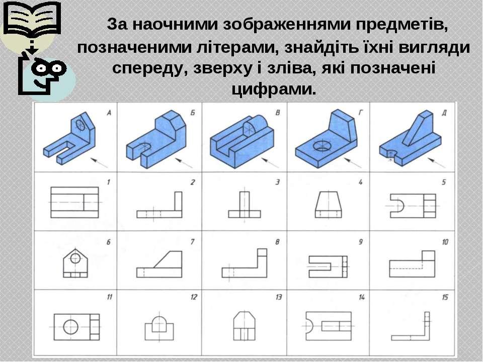 За наочними зображеннями предметів, позначеними літерами, знайдіть їхні вигля...