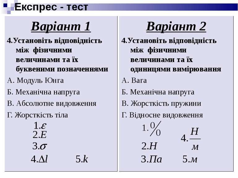 Експрес - тест Варіант 1 4.Установіть відповідність між фізичними величинами ...